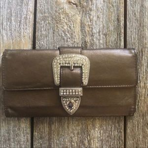 Handbags - Brown trifold wallet blinging buckle closure